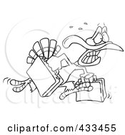 Royalty Free RF Clipart Illustration Of Coloring Page Line Art Of A Turkey Bird Running In Panic With Luggage by toonaday