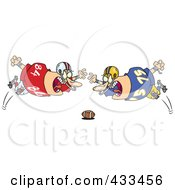 Royalty Free RF Clipart Illustration Of Football Players Diving Towards The Ball