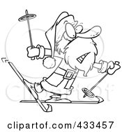 Royalty Free RF Clipart Illustration Of Coloring Page Line Art Of A Nervous Santa Skiing by toonaday