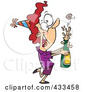 Royalty Free RF Clipart Illustration Of A New Year Woman Popping Open A Bottle Of Champagne