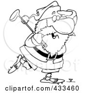 Royalty Free RF Clipart Illustration Of Coloring Page Line Art Of Santa Golfing