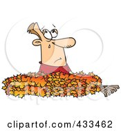 Royalty Free RF Clipart Illustration Of A Man Crying In A Pile Of Autumn Leaves by toonaday