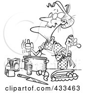 Royalty Free RF Clipart Illustration Of Coloring Page Line Art Of An Old Woman Baking