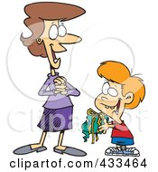 Royalty Free RF Clipart Illustration Of A Boy Giving His Mom A Messy Gift by toonaday