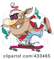 Royalty Free RF Clipart Illustration Of Santa Skateboarding by toonaday