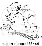 Royalty Free RF Clipart Illustration Of Coloring Page Line Art Of A Sledding Snowman by toonaday
