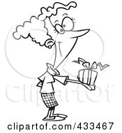 Royalty Free RF Clipart Illustration Of Coloring Page Line Art Of A Woman Holding A Gift Box