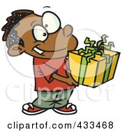 Royalty Free RF Clipart Illustration Of A Black Boy Holding A Gift Box by toonaday