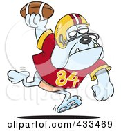 Royalty Free RF Clipart Illustration Of A Football Bulldog Throwing The Ball by toonaday
