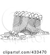 Royalty Free RF Clipart Illustration Of Coloring Page Line Art Of A Turkey Bird Escaping Under An Enclosure by toonaday