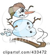 Royalty Free RF Clipart Illustration Of A Sledding Snowman