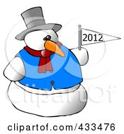 Royalty Free RF Clipart Illustration Of A Snowman Holding A New Year Flag by Dennis Cox