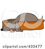 Royalty Free RF Clipart Illustration Of A Tired Pooch Resting In A Doggy Bed