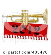 Royalty Free RF Clipart Illustration Of A New Year Trumpet With A 2012 Banner by Dennis Cox