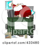 Santa Digging Through Trash In A Dumpster