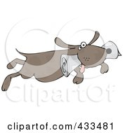 Royalty Free RF Clipart Illustration Of A Pooch Fetching A Newspaper