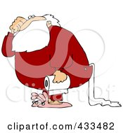 Royalty Free RF Clipart Illustration Of Santa Carrying A Roll Of Toilet Paper