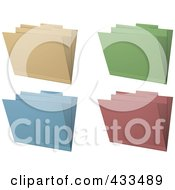 Royalty Free RF Clipart Illustration Of A Digital Collage Of 3d Brown Green Blue And Pink Manila Folders by elaineitalia