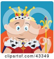Clipart Illustration Of A Royal Caucasian King Holding A Staff