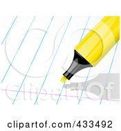 Yellow Highlighter Over Ruled Paper
