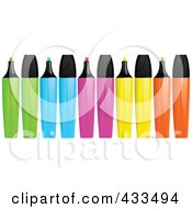 Royalty Free RF Clipart Illustration Of A Digital Collage Of Green Blue Pink Yellow And Orange Highlighter Markers With Caps On And Off by elaineitalia
