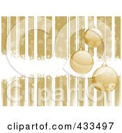 Royalty Free RF Clipart Illustration Of A Gold Christmas Background Of Suspended Ornaments With Stripes And White Grunge