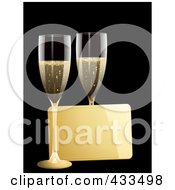 Royalty Free RF Clipart Illustration Of A Gold Message Tag Between Two Glasses Of Champagne