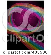 Royalty Free RF Clipart Illustration Of A Background Of A Rainbow Curve With Sparkles On Pink And Black
