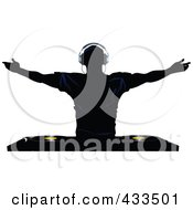 Royalty Free RF Clipart Illustration Of A Silhouetted Male DJ Holding His Arms Up Above Record Decks