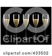 Royalty Free RF Clipart Illustration Of A Row Of Champagne Glasses by elaineitalia