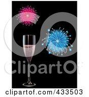 Royalty Free RF Clipart Illustration Of A Glass Of Pink Champagne With Fireworks by elaineitalia