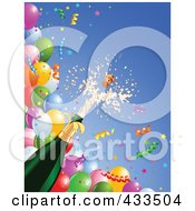 Champagne Bottle Bursting Over Balloons And Confetti Ribbons On Blue