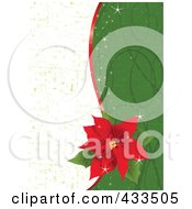 Royalty Free RF Clipart Illustration Of A Red Poinsettia Flower Over A Half White And Green Grunge And Green Swirl Background by Pushkin