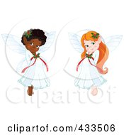 Royalty Free RF Clipart Illustration Of A Digital Collage Of Cute Black And Red Haired Christmas Fairy Girls