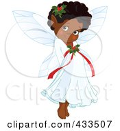 Royalty Free RF Clipart Illustration Of A Cute Black Christmas Fairy by Pushkin