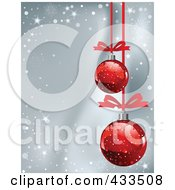 Royalty Free RF Clipart Illustration Of A Gray Christmas Background With Snowflake Waves And Red Baubles by Pushkin