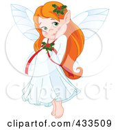 Royalty Free RF Clipart Illustration Of A Cute Red Haired Christmas Fairy Girl