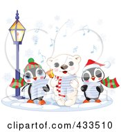 Royalty Free RF Clipart Illustration Of A Cute Polar Bear And Two Penguins Singing Christmas Carols On A Winter Night