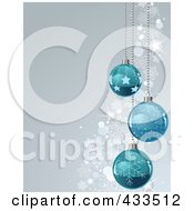 Royalty Free RF Clipart Illustration Of A Gray Christmas Background With Snowflake Waves And Blue Baubles