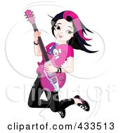 Little Rocker Chick Jumping And Playing Her Guitar