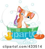 Royalty Free RF Clipart Illustration Of A Cute Kitten Scrubbing His Back While Taking A Bath by Pushkin