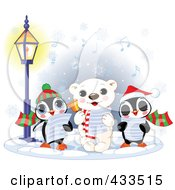 Royalty Free RF Clipart Illustration Of A Cute Polar Bear And Two Penguins Singing Christmas Carols On A Wintry Night by Pushkin
