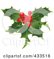 Royalty Free RF Clipart Illustration Of Holly Leaves With Berries