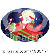 Royalty Free RF Clipart Illustration Of Santa Flying In Front Of A Full Moon In A Blue Oval