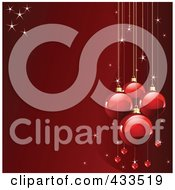 Royalty Free RF Clipart Illustration Of A Red Christmas Background With Sparkles And Red Baubles