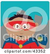 Clipart Illustration Of A Hispanic Super Hero Man In A Costume