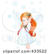 Royalty Free RF Clipart Illustration Of A Cute Red Haired Christmas Fairy Girl With Snowflakes