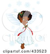 Royalty Free RF Clipart Illustration Of A Cute Black Christmas Fairy Girl With Snowflakes