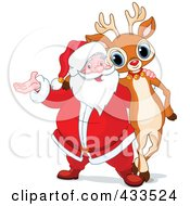 Royalty Free RF Clipart Illustration Of Santa And Rudolph Standing Together by Pushkin