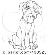 Royalty Free RF Clipart Illustration Of A Coloring Page Outline Of A Sitting And Panting Dog